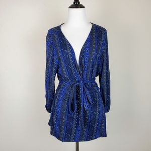 Lucky Brand Patterned Black Blue Wrap Top NWT
